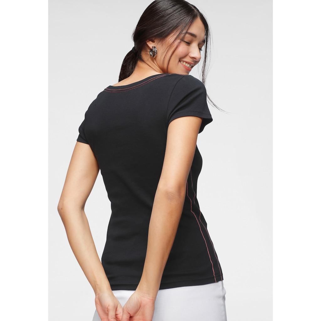 KangaROOS T-Shirt, mit grossem Retro Label-Druck vorne