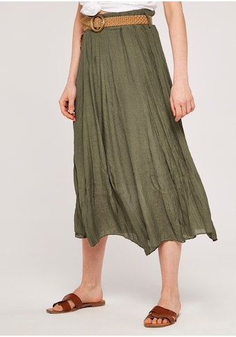 Apricot Maxirock »Shimmer Crinkle Belted Skirt«, (mit Gürtel), mit Flechtgürtel kaufen