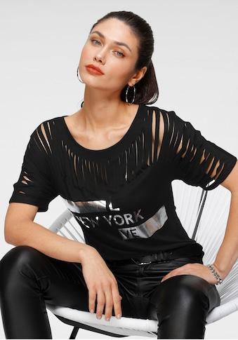 Melrose Rundhalsshirt, mit Schlitzen und Folienprint - NEUE KOLLEKTION kaufen