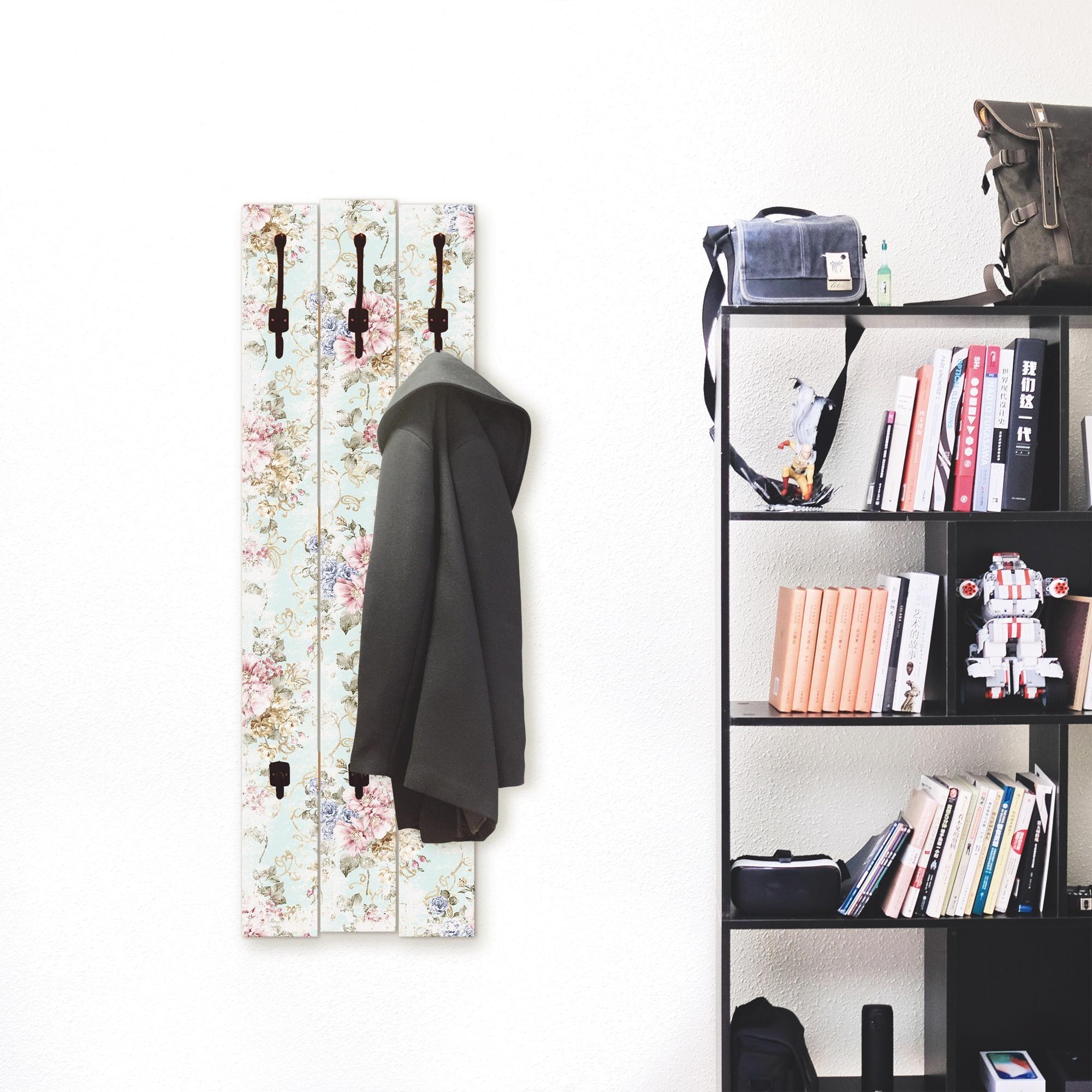 Image of Artland Garderobenpaneel »Blumen mit nahtlosem Muster«, platzsparende Wandgarderobe aus Holz mit 5 Haken, geeignet für kleinen, schmalen Flur, Flurgarderobe