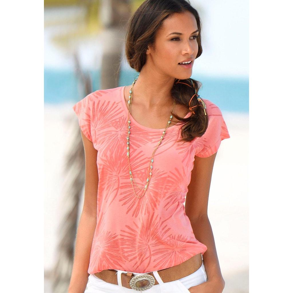 Beachtime T-Shirt, Ausbrenner-Qualität mit leicht transparenten Palmen