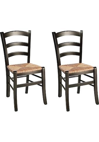 Home affaire 4-Fussstuhl »Super Paesana«, aus Massivholz Buche mit Sitz aus Grasgeflecht, im 2er-Set kaufen