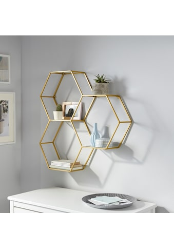 Leonique Wandregal »Lenia«, Dekoregal, Wanddeko, aus Metall, bestehend aus drei sechseckigen Elementen kaufen