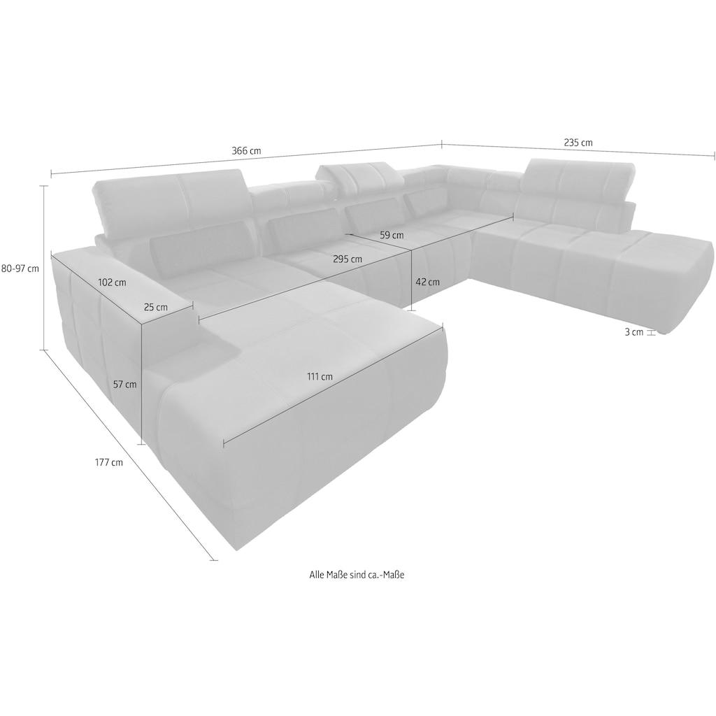 DOMO collection Wohnlandschaft »Brandon«, inklusive Kopfteilverstellung, wahlweise mit Sitztiefenverstellung, frei im Raum stellbar