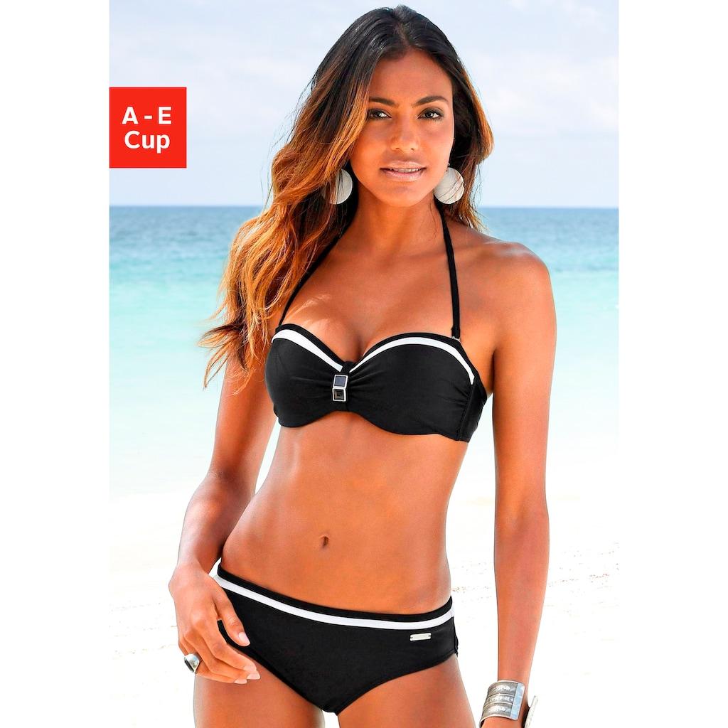LASCANA Bügel-Bandeau-Bikini, mit Kontrastdetails
