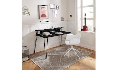 my home Schreibtisch »Lennox«, mit besonderen Funktion des Wireless Charger, praktische Kabeldurchführung, Metallgestell, Breite 115 cm kaufen