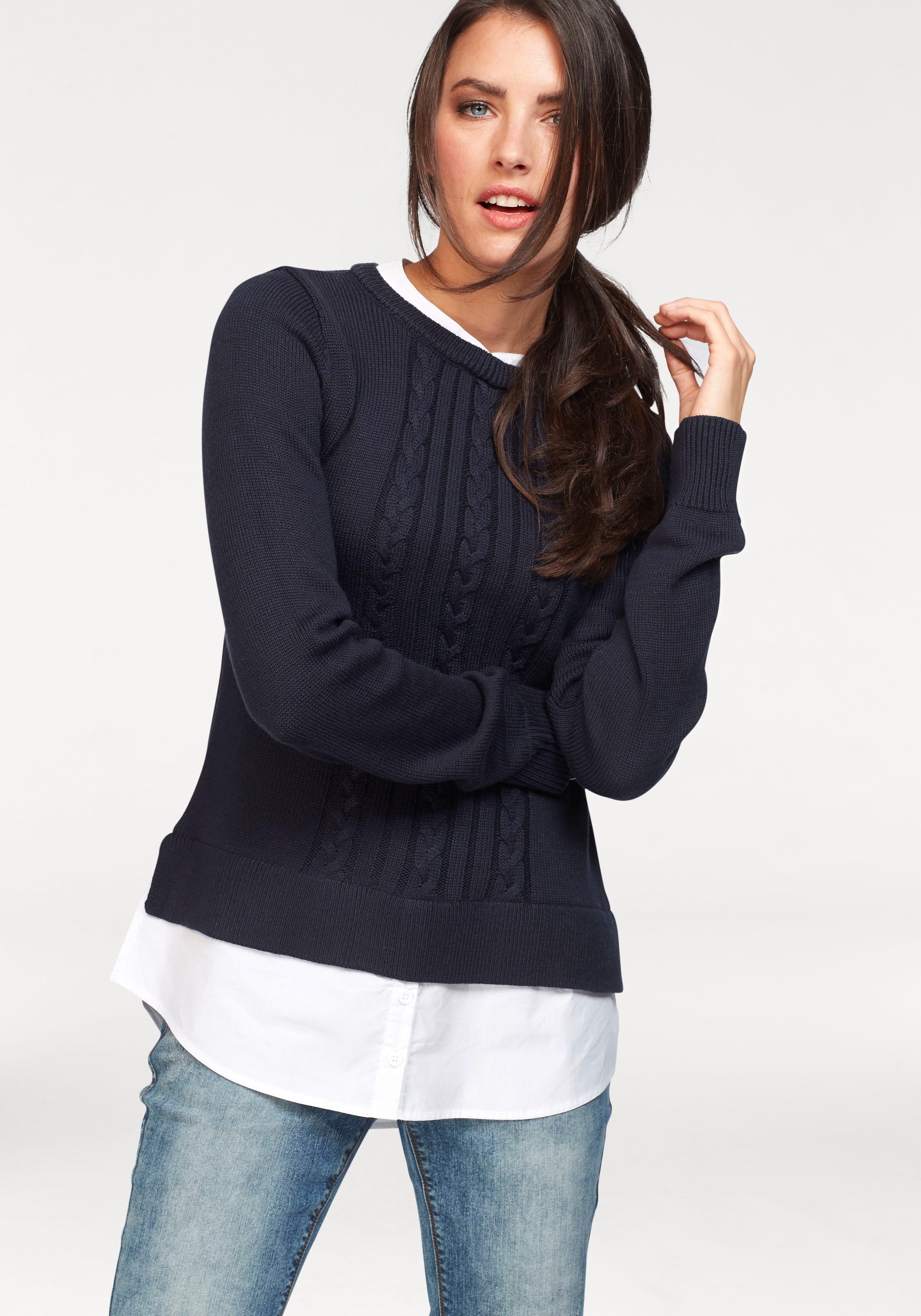 Image of Aniston CASUAL 2-in-1-Pullover, mit Bluseneinsatz