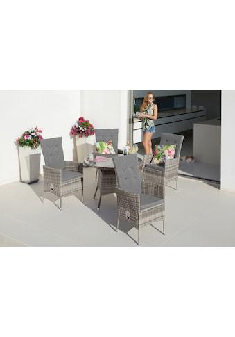KONIFERA Gartenmöbelset »Belluno«, (9 St.), 4 Sessel, Tisch Ø 1 cm, Polyrattan kaufen