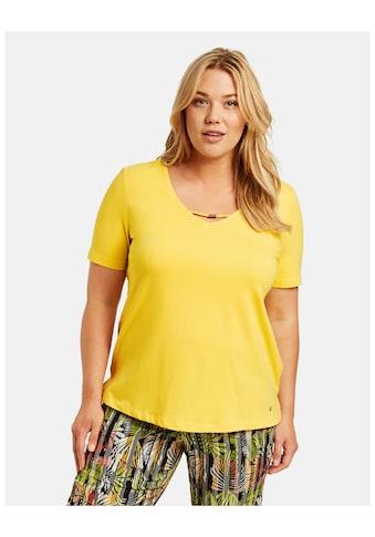 Samoon Rundhalsshirt »T - Shirt mit dekorativem Ausschnitt organic cotton« kaufen