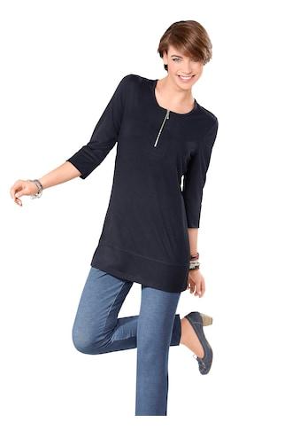 Classic Basics Longshirt mit silberfarbenem Reissverschluss am Ausschnitt kaufen