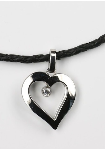 Firetti Kette mit Anhänger »Herz, geflochtenes Lederband«, mit Zirkonia kaufen