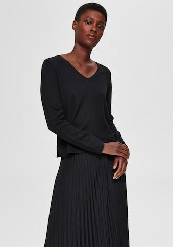 SELECTED FEMME V-Ausschnitt-Pullover »SLFINKA«, im Materialmix mit Wollanteil kaufen