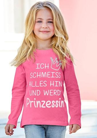 KIDSWORLD Langarmshirt »Prinzessin«, mit Glitzerdruck kaufen