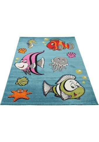 merinos Kinderteppich »GERS«, rechteckig, 13 mm Höhe, bunte Fische, handgearbeiteter... kaufen