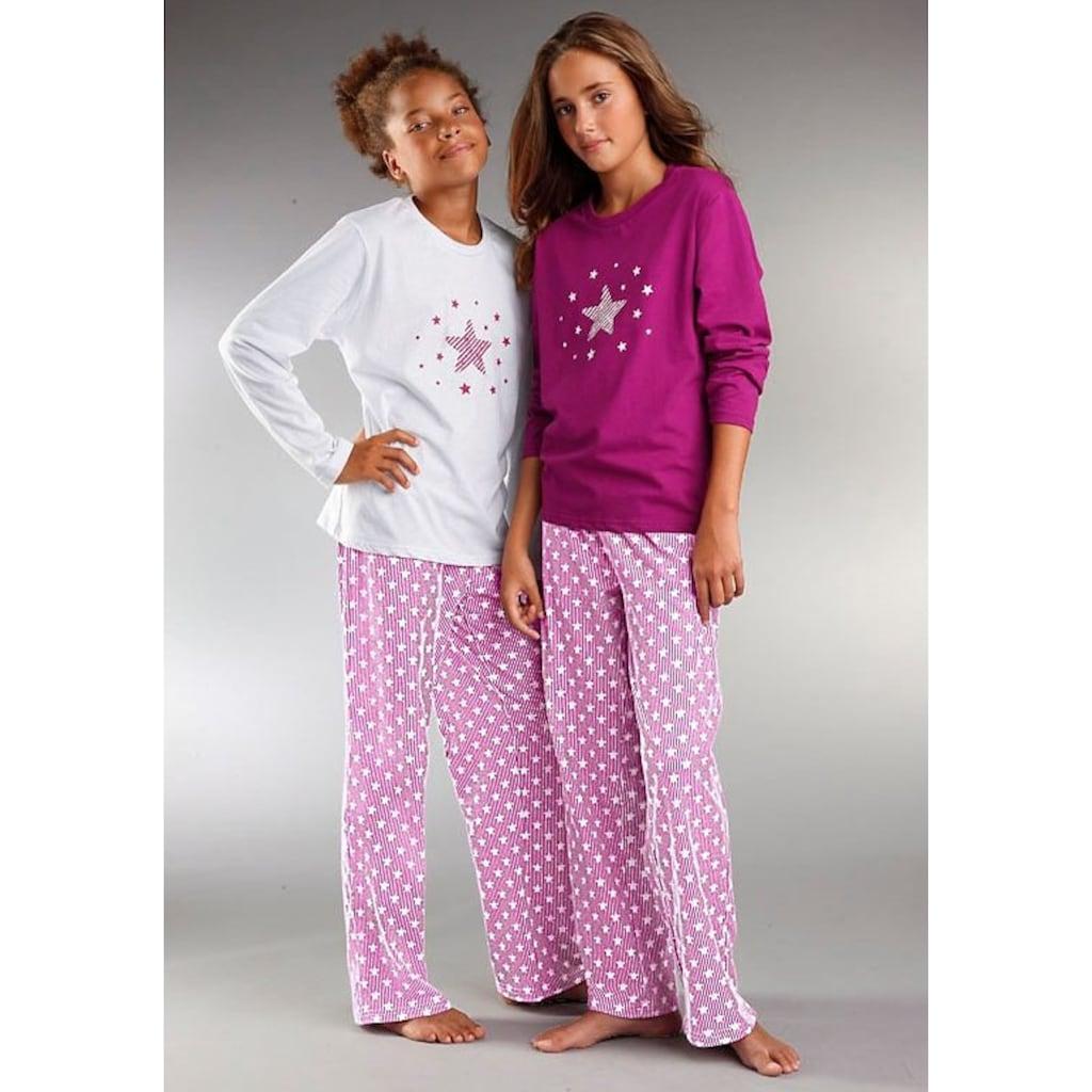 petite fleur Pyjama, modischer Sternendruck auf den Shirts und Hosen