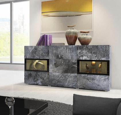 graues Sideboard mit Glaselementen