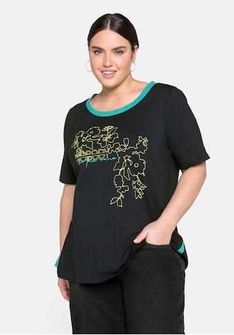 Sheego T-Shirt, mit kontrastfarbenem Druck, in A-Linie kaufen