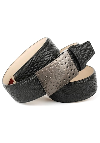Anthoni Crown Ledergürtel, mit Flechtprägung in schwarz kaufen