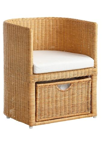 Home affaire Rattanstuhl »Blaxton«, inklusive eines Korbes und eines Sitzkissens, aus... kaufen