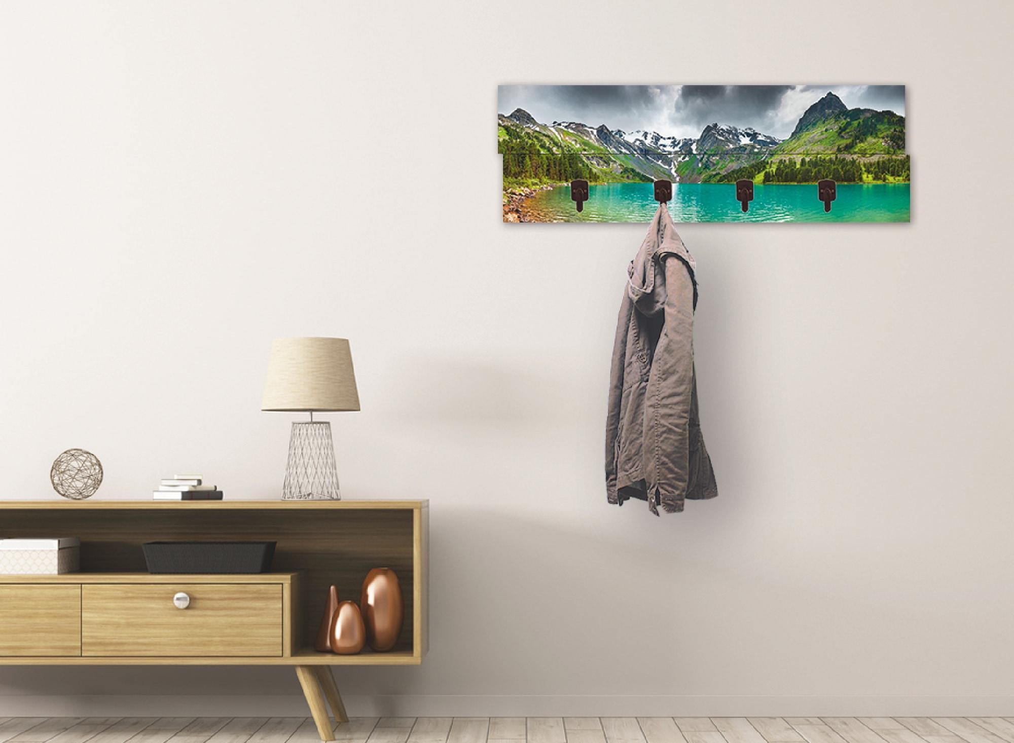 Image of Artland Garderobenpaneel »Bergsee«, platzsparende Wandgarderobe aus Holz mit 4 Haken, geeignet für kleinen, schmalen Flur, Flurgarderobe