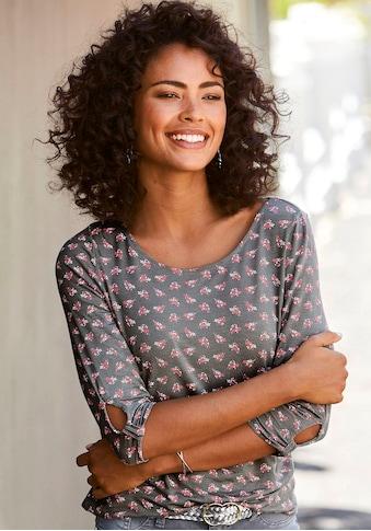 LASCANA 3/4-Arm-Shirt, mit kleinem Cut-Out am Ärmelsaum kaufen