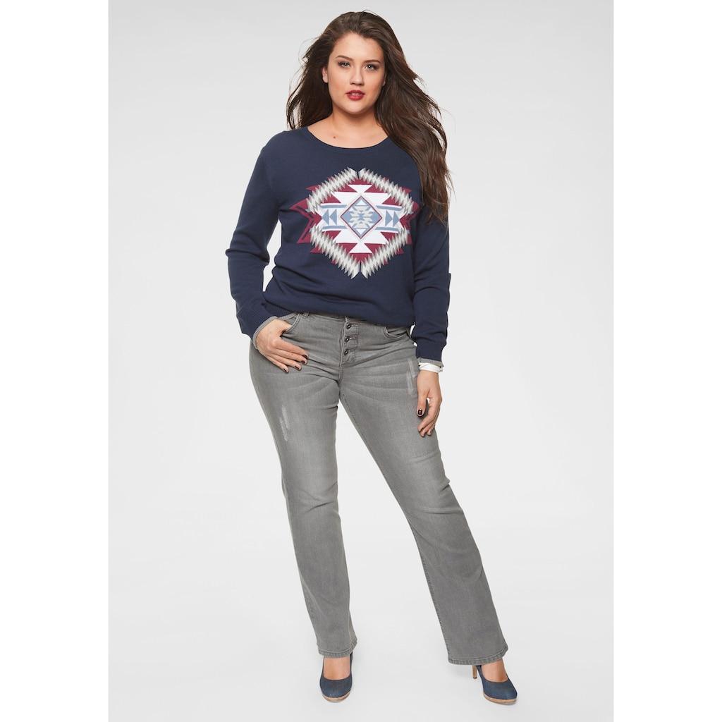 Arizona Bootcut-Jeans »mit sichtbarer Knopfleiste«, High Waist