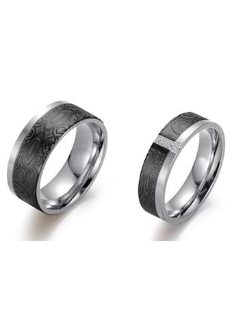 Firetti Trauring »6,0 mm, 8,0 mm, bicolor, teilweise IP - beschichtet, schwarz, glänzend, matt, strukturiert« kaufen