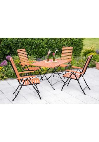 MERXX Gartenmöbelset »Schlossgarten«, 5tlg., 4 Sessel, Tisch, klappbar, Eukalyptusholz, natur kaufen