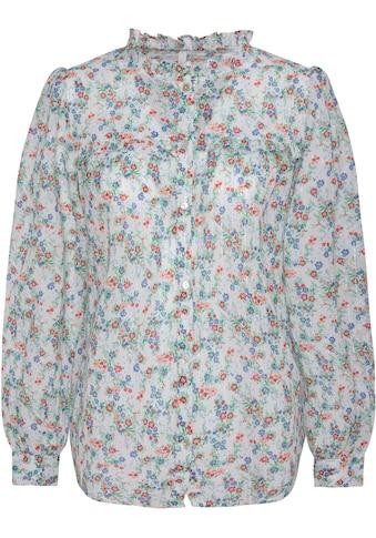 Pepe Jeans Druckbluse »ANNA«, mit Millefleurs, Rüschenkante & Glitzerstreifen kaufen