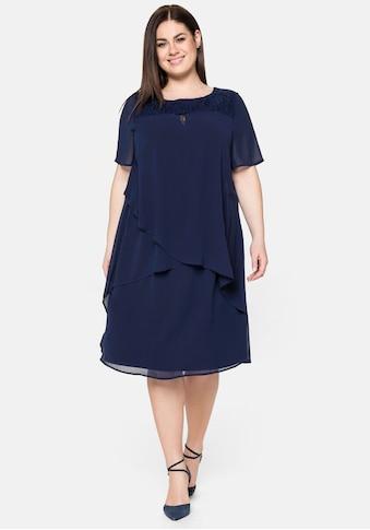 Sheego Abendkleid, mit asymetrischen Volants kaufen
