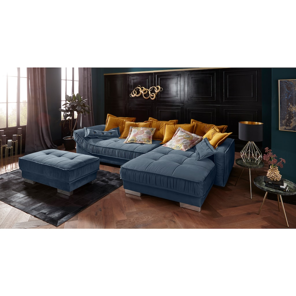Leonique Ecksofa »Diwan Luxus«, mit besonders hochwertiger Polsterung für bis zu 140 kg pro Sitzfläche, mit vielen losen Kissen und Faltenwurf