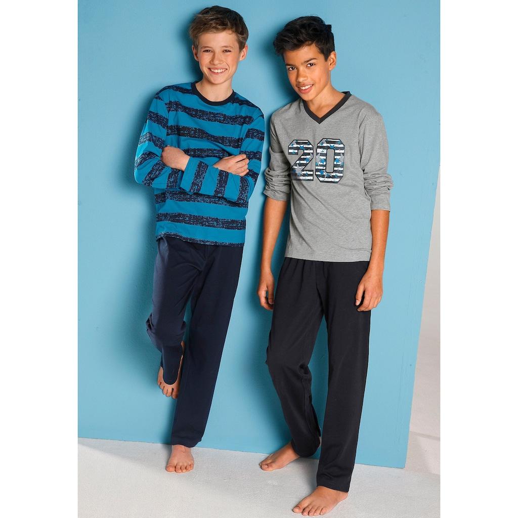 Pyjama, (2 tlg.), mit lässigem Druck und gedruckten Streifen