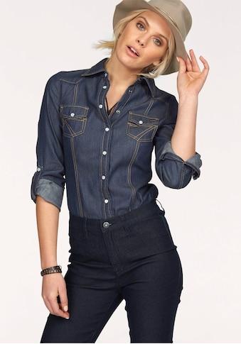 Arizona Jeansbluse »mit Druckknöpfen in Perlmuttoptik«, und Krempelärmeln kaufen