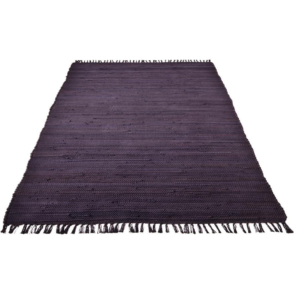 Home affaire Teppich »Handweb Uni«, rechteckig, 5 mm Höhe, reine Baumwolle, Wendeteppich, mit Fransen, Wohnzimmer