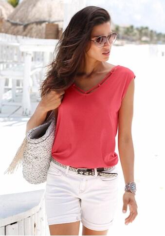 s.Oliver Beachwear T-Shirt, mit Zierbändern am Ausschnitt kaufen