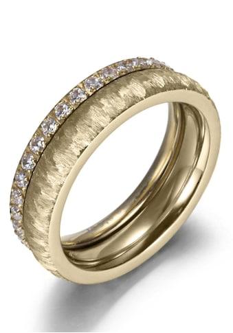 Firetti Ring - Set »2,0 mm, 4,0 mm, glänzend, matt, gekratzt, strukturiert, IP - beschichtet« (Set, 2 tlg.) kaufen