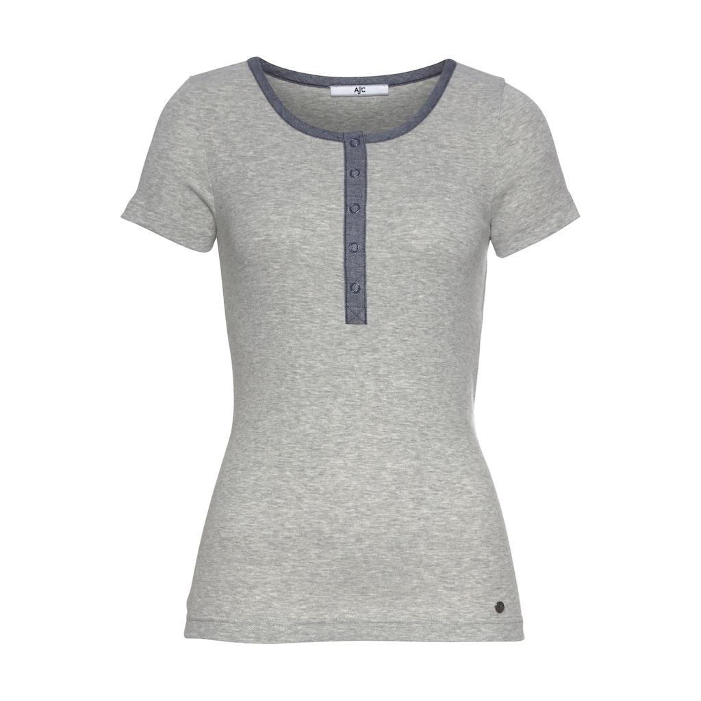 AJC T-Shirt, mit Knopfleiste aus leichtem Chambray im Denim-Design